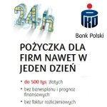 Przedmiotem Naszej oceny będzie dzisiaj reklamowana jako szybka i prosta pożyczka dla firm PKO BP. Pożyczka do 500 tysięcy złotych, na okres do 60 miesięcy z decyzją kredytową wydawaną w ciągu 24 godzin to propozycja Banku PKO BP dla klientów segmentu małych i średnich przedsiębiorstw.