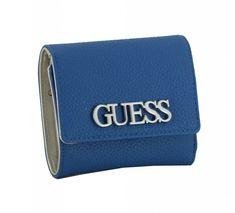 farbenfrohe Geldbörse Guess Uptown Chic SLG Blue Logo Chambray, Marken Logo, Slg, Card Case, Victoria, Wallet, Chic, Fashion, Blue Polka Dots
