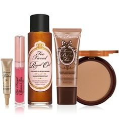Be ready to reveal your Royally Bronzed look all summer long! Our exclusive collection contains multiple must-haves for face, lips and body. Build your bronze with Tanning Bed in a Tube, get your gams glowing with Royal Oil and protect  perfect with Primed  Poreless Bronze Tint SPF 20. Use cocoa to contour with Milk Chocolate Soleil, finishing your look with a pout-polishing Glamour Gloss. #TooFacedSummer sexy-sun-safe-summer