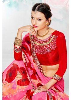 couleur rose georgette saree, - 52,00 €, #SariDeMariage #RobeIndou #LaModeIndienne #Shopkund