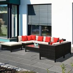 Sol 72 Outdoor™ Merlyn 11 Piece Sectional Seating Group with Cushions | Wayfair Sectional Patio Furniture, Wicker Furniture, Sectional Sofa, Outdoor Furniture Sets, Rattan Sofa, Furniture Decor, Outdoor Seating, Outdoor Sofa, Outdoor Living