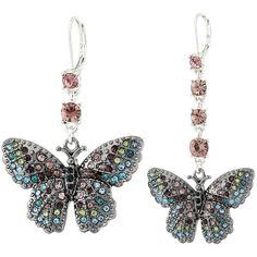 Betsey Johnson Butterfly Effect Earrings ($40) ❤ liked on Polyvore featuring jewelry, earrings, pink earrings, butterfly pendant, pave jewelry, pink jewelry and pendant jewelry