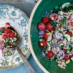 #Farro (a nutty Italian grain) stars in this easy #summer #salad. You can also swap in any starch like bread or pasta.