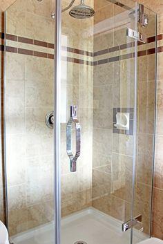 New shower stall tiled floor to ceiling.