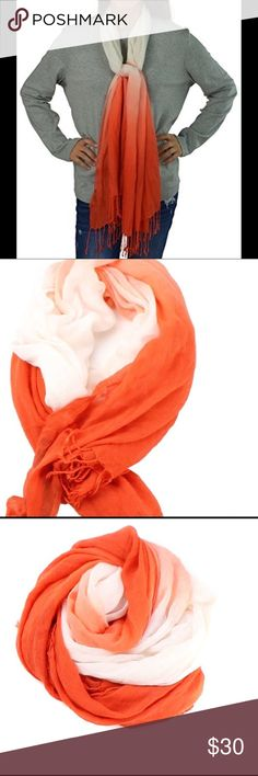 "INC INTERNATIONAL CONCEPTS TASSEL SCARF INC Women's rectangle scarf dip dyed. In a vibrant ombré orange & white with tassels along the edge. Product dimensions 9.3 x 8 x 1.3"" Material 100% Viscose INC International Concepts Accessories Scarves & Wraps"
