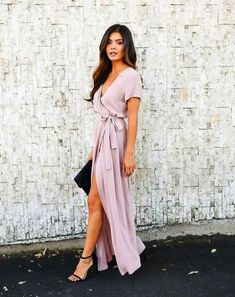 Solid Bardot Wrap Dress - Mauve