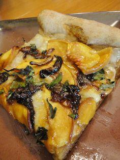 Peach, Basil, & Caramelized Onion Homemade Pizza