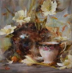White Poppies and Teacup by Laura Robb | Oil | LegacyGallery.com
