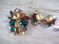 Vintage Fruit Salad Brooch and Earrings by mimiyaya on Etsy, $62.00
