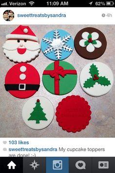 Kerst / Christmas cupcake toppers www.hierishetfeest.com