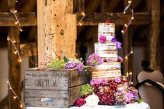 naked rustic wedding cake Rustic Outdoorsy Wedding http://www.pavonephotography.co.uk/