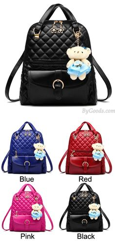 Which color do you want? So nice backpack ! Fresh Quilted Backpack Flower Zipper Shoulder Bag Bear Handbag #backpack #school #shoulder #bag #flower #black #fresh #college