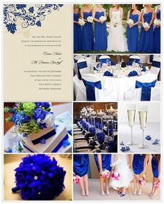 Deep cobalt blue is the new black tie, giving a stark jewel-toned contrast to white linens.