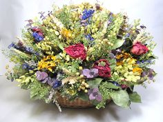 Fall Floral Arrangement Dried Flower by summersweetboutique