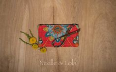 Red Floral Wristlet, Clutch, Wallet, Boho Purse, Indie Handbag, Flower Print Bag, Birthday Gift for Her Casual Day Wristlet by Noelle & Lola