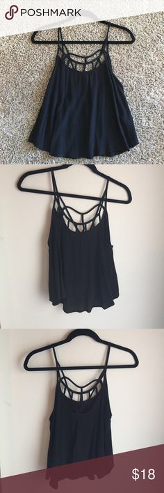 Lush Nordstrom Crop Top Fun black Lush crop top, size small. In excellent condition. 100% rayon. Let me know if you have questions! Lush Tops