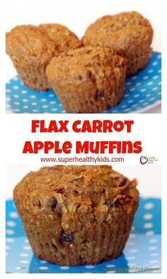 Flax Carrot Apple Muffins - The name speaks for itself! A healthy breakfast in a muffin. This is also great for lunch, snacks, etc. Carrot Muffins, Protein Muffins, Healthy Muffins, Eggless Muffins, Flaxseed Muffins, Power Muffins, Flaxseed Smoothie, Healthy Muffin Recipes, Bran Muffins