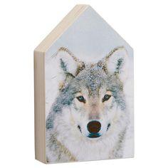 Decoratiehuis van hout met opdruk van een wolf. 13x8 cm (lxb).