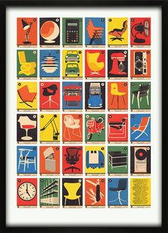 35 of the greatest 20th Century design classics. Objects from chairs to cameras, clocks to record players, inspired by the work of Eames to Jacobsen, we have picked the 35 items we feel represent the most iconic product design and designers of the 20th Century.  Illustrated and presented as a collectors set of trading cards on an A2 print this is the first in our series of Alphanumeric / Alphabet prints.  If you can't guess them all the answers are on the last card of the set.
