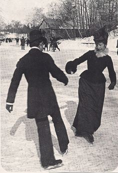Couple ice skating in Central Park, New York City, circa