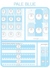 Simone Made It:  Free party printables!  Pale baby blue stripes and polkadots