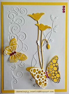 Charmingly Creative: Garden Butterflies is where I found this card… Making Greeting Cards, Greeting Cards Handmade, Butterfly Cards, Flower Cards, Memory Box Cards, Memory Box Dies, Poppy Cards, Embossed Cards, Beautiful Handmade Cards