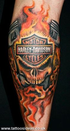 Harley Davidson Skull and Fire