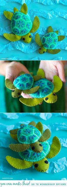 DIY Felt Turtle Stuffie is part of Felt crafts DIY - This felt turtle family is a great DIY project for practicing embroidery stitching, and once you finish you can gift them to your kids as summer goodies! Fabric Crafts, Sewing Crafts, Diy Crafts, Sewing Tips, Free Sewing, Sewing Ideas, Felt Christmas Ornaments, Christmas Crafts, Christmas Pics