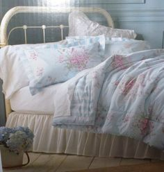 Simply Chic Bedding Target blue stripes | ... Simply SHABBY CHIC-KING Comforter Cottage Rose-Blue-Stri pe Set 3P