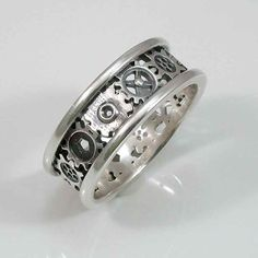 Mens Steampunk Alternating Gear Ring  Silver by SwankMetalsmithing, $220.00
