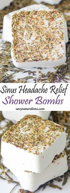 Made with pure essential oils these sinus headache relief shower bombs will give you a natural relief to that aching headache #essentialoilssinus