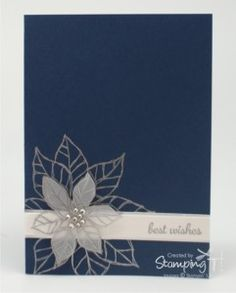 card christmas poinsetta in blue and white and silver Christmas Projects, Christmas Ideas, Christmas Cards, Scrapbook Cards, Scrapbooking, Present Wrapping, Wood Stain, Winter Trees, Winter Cards