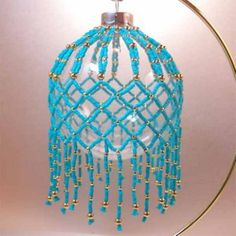 Turquoise and Gold Beaded Ornament