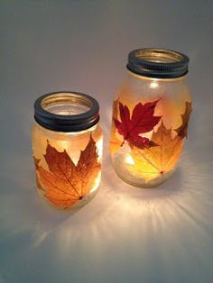 Modge podge glass, stick leaves on, modge podge again, let dry, stick a candle inside - it's a fall sunset in a jar.