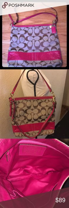 "Coach Raspberry pink and khaki Shoulder bag 12824 This is in excellent used condition and is a large size! Bag is authentic! There are no stains and no areas where fabric has run thin! Patent is also in excellent shape! Bag comes with a longer strap as well! Measurements are 14"" tall and 15"" wide! Strap drop is 11"" and longer strap measures 23"" at its longest point but can be taken in if desired. All my items come from a smoke free environment! Price is FIRM for this bag and sorry but NO…"