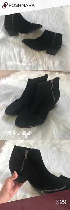 Aldo Black Boots Gently worn in good condition. The material is soft touch so the color can look mildly lighter in different lights. Only wore them for a couple of weeks. Very comfy and stylish! Aldo Shoes Heeled Boots