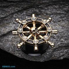 Golden Pirate Ship Anchor Wheel Ear Gauge Plug #piercing #eargauge #gauges…