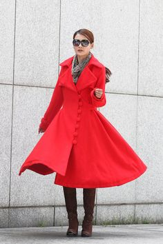 Red Coat, Red Winter Coat, Womens Coat, Wool Coat, High Collar ...