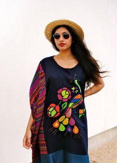 Handmade embroidery-peacock batwing Boho midi dress by CraftyCloth