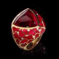 Mousson atelier, Four Seasons collection, ring, Yellow gold 750, Tourmaline rubellite 11,93 ct., Tourmaline rubellite, Diamonds, Enamel