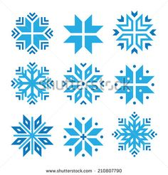 Christmas, winter blue snowflakes vector icons set  by RedKoala #xmas #design