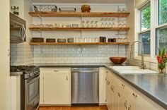 Portland Area Residential: Gourmet Kitchen With Custom Shelving, Stainless Appliances and Eating Area