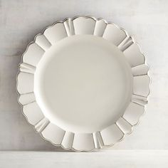 Pier 1 Imports Antique Scalloped Ivory Charger