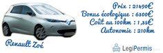 La renault Zoé : pionnière en voiture électrique française www.legipermis.com