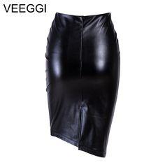 ddda344fa14e VEEGGI Elegant High Waist Faux Leather Skirts New Arrival Office Lady  Bodycon Women Warm Pencil Skirts Plus Size Skirt