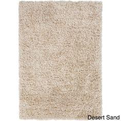 Tapeto Designs Hand-woven Solid Beige Shag Corang Rug (Desert Sand-(5' x 8')), Brown, Size 5' x 8'