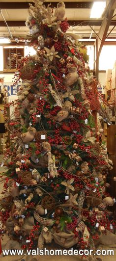 Traditional Christmas Tree With This Seasons Latest Trends Burlap And Owls