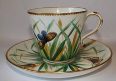 Fantastic Royal Worcester Cabinet Cup & Saucer Hand Painted Butterflies c1820
