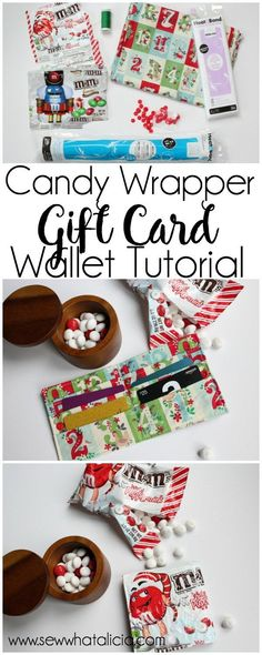 Candy Wrapper Gift Card Wallet Tutorial: This tutorial lets you eat lots of delicious candy! Use the wrappers to create a cute gift card wallet to fill with gift cards and gift to your favorite person! Click through for the full sewing tutorial. | www.sew