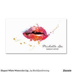 Elegant White Watercolor Lips Makeup Artist Standard Business Card
